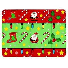 Christmas pattern - green and red Samsung Galaxy Tab 7  P1000 Flip Case