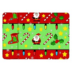 Christmas pattern - green and red Samsung Galaxy Tab 8.9  P7300 Flip Case