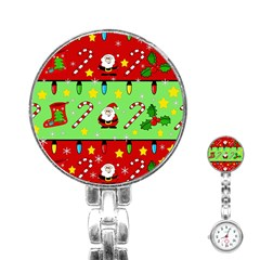 Christmas pattern - green and red Stainless Steel Nurses Watch
