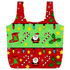 Christmas pattern - green and red Full Print Recycle Bags (L)