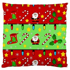 Christmas pattern - green and red Large Flano Cushion Case (Two Sides)