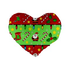 Christmas pattern - green and red Standard 16  Premium Flano Heart Shape Cushions