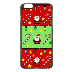 Christmas pattern - green and red Apple iPhone 6 Plus/6S Plus Black Enamel Case