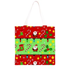 Christmas pattern - green and red Grocery Light Tote Bag
