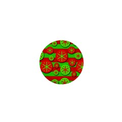 Snowflake red and green pattern 1  Mini Magnets