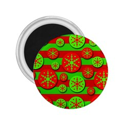 Snowflake red and green pattern 2.25  Magnets