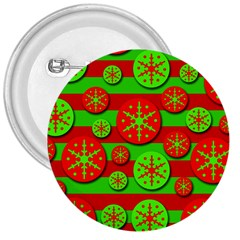 Snowflake red and green pattern 3  Buttons
