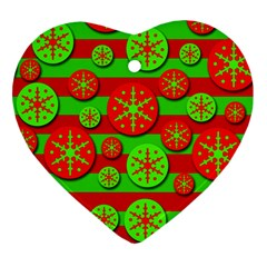 Snowflake red and green pattern Ornament (Heart)