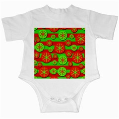 Snowflake red and green pattern Infant Creepers