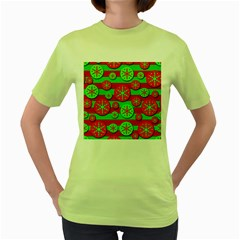 Snowflake red and green pattern Women s Green T-Shirt