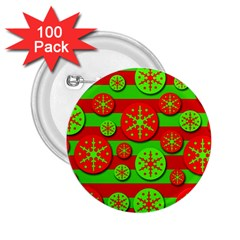 Snowflake red and green pattern 2.25  Buttons (100 pack)