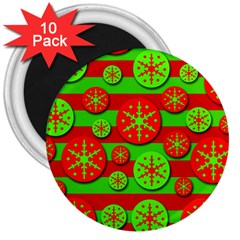 Snowflake red and green pattern 3  Magnets (10 pack)