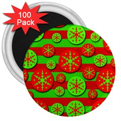Snowflake red and green pattern 3  Magnets (100 pack)