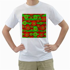 Snowflake red and green pattern Men s T-Shirt (White) (Two Sided)