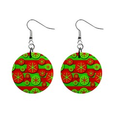 Snowflake red and green pattern Mini Button Earrings