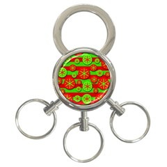 Snowflake red and green pattern 3-Ring Key Chains