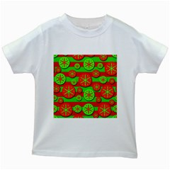 Snowflake red and green pattern Kids White T-Shirts
