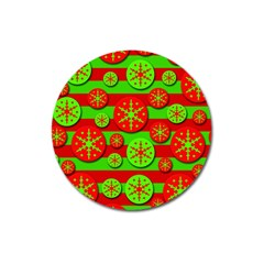 Snowflake red and green pattern Magnet 3  (Round)