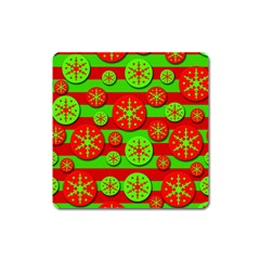 Snowflake red and green pattern Square Magnet