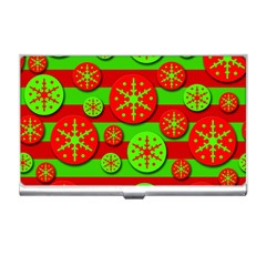 Snowflake red and green pattern Business Card Holders
