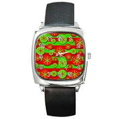 Snowflake red and green pattern Square Metal Watch