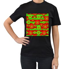 Snowflake red and green pattern Women s T-Shirt (Black) (Two Sided)
