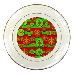 Snowflake red and green pattern Porcelain Plates