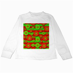 Snowflake red and green pattern Kids Long Sleeve T-Shirts