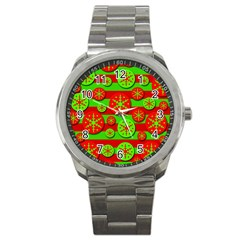 Snowflake red and green pattern Sport Metal Watch