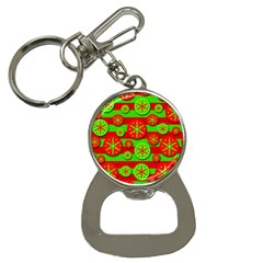 Snowflake red and green pattern Bottle Opener Key Chains