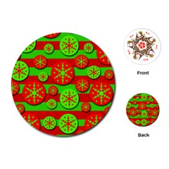 Snowflake red and green pattern Playing Cards (Round)