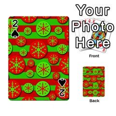 Snowflake red and green pattern Playing Cards 54 Designs