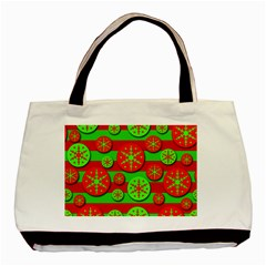Snowflake red and green pattern Basic Tote Bag