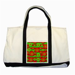 Snowflake red and green pattern Two Tone Tote Bag