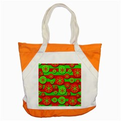 Snowflake red and green pattern Accent Tote Bag