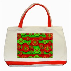 Snowflake red and green pattern Classic Tote Bag (Red)