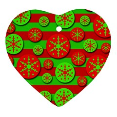 Snowflake red and green pattern Heart Ornament (2 Sides)