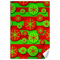 Snowflake red and green pattern Canvas 12  x 18