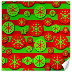 Snowflake red and green pattern Canvas 20  x 20