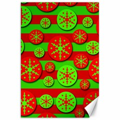 Snowflake red and green pattern Canvas 20  x 30