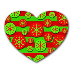 Snowflake red and green pattern Heart Mousepads