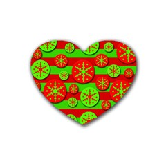 Snowflake red and green pattern Rubber Coaster (Heart)