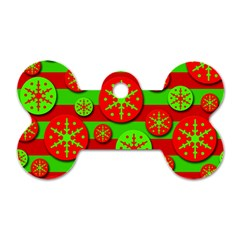 Snowflake red and green pattern Dog Tag Bone (Two Sides)