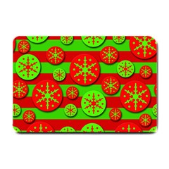 Snowflake red and green pattern Small Doormat
