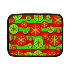 Snowflake red and green pattern Netbook Case (Small)