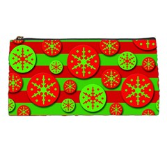 Snowflake red and green pattern Pencil Cases