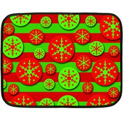 Snowflake red and green pattern Double Sided Fleece Blanket (Mini)