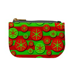Snowflake red and green pattern Mini Coin Purses