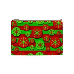 Snowflake red and green pattern Cosmetic Bag (Medium)