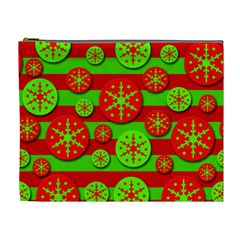 Snowflake red and green pattern Cosmetic Bag (XL)
